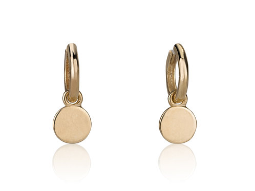 Baby Hoop Earrings with Gold circle Drops, a classy look for everyday. The earrings were made to wear for a lifetime.