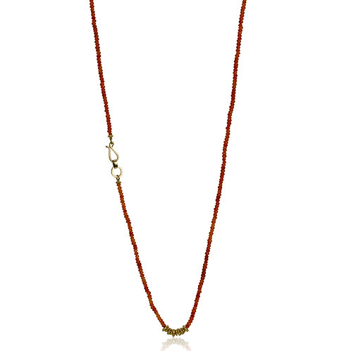 Long Beaded Orange Carnelian and gold Necklace