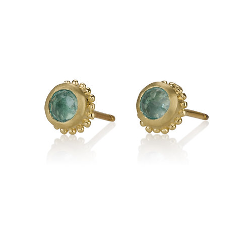 Gold Balls Aquamarine stud earrings are handmade especialy for you.