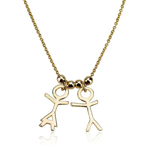 Dainty 14K Yellow/White gold Boy and Girl Children Pendants necklace is the perfect Mothers gift : a new mom, Grandma.