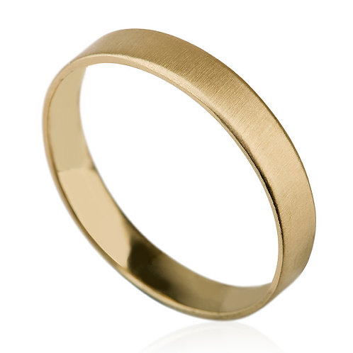 This Custom 14k gold Classic 2 mm Wedding Band has a  Matt Finish and a thin band with a classic wedding band profile.