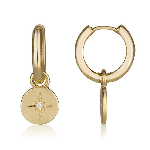 Baby Hoop Earrings with Gold circle Drops set with diamonds, a classy look for everyday.