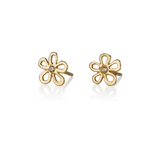 Dainty Hollow Daisy Stud Earrings with Zirconium