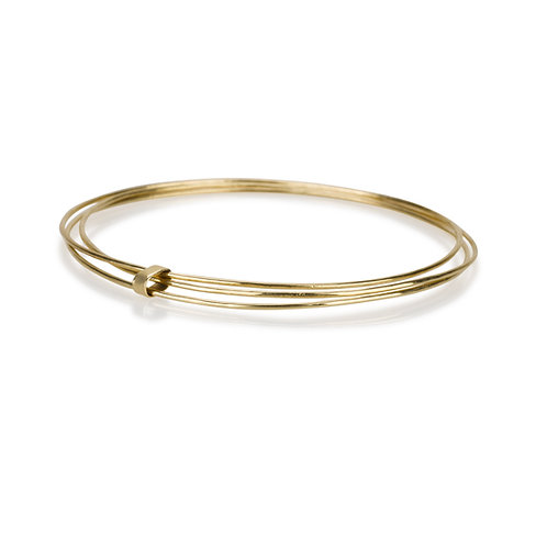 perfect Three Attached Thin Bangles made of 14ksolid gold