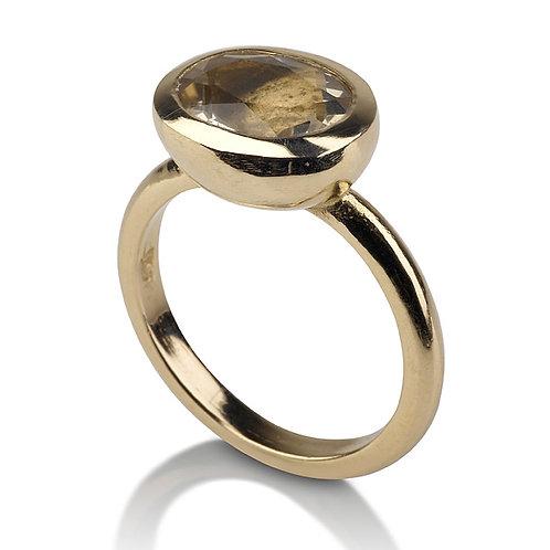 Small Signet Smoky Topaz Ring