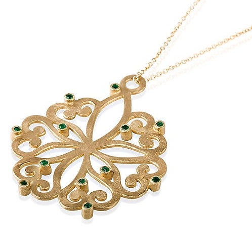 LACE Rosetta pendant Necklace set with Emeralds