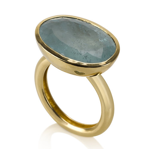 This Large Signet Aquamarine Ring has a ONE OF A KIND STONE.