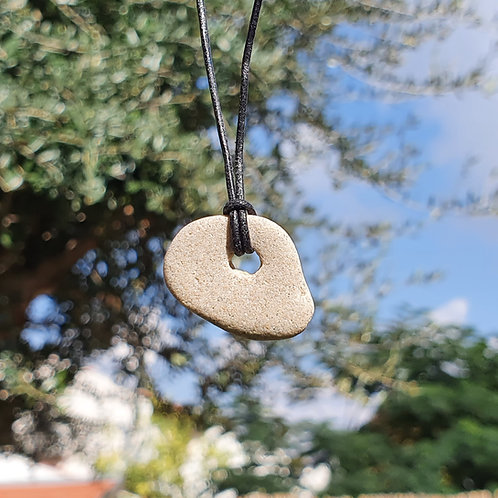 No. 9 One of a Kind Natural Beach stone on a leather chain