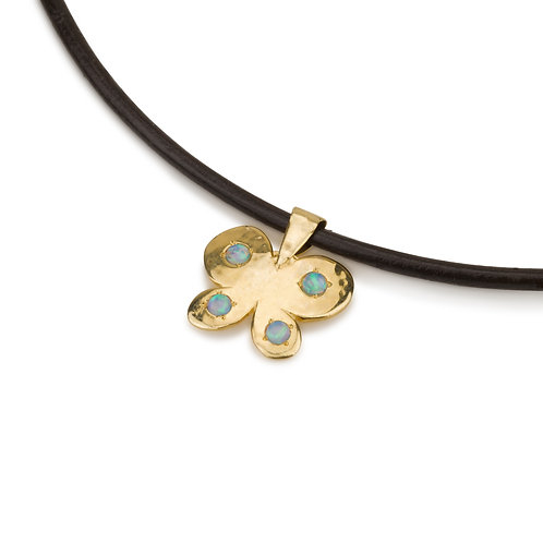 Butterfly Pendant with Opal on Leather Chain
