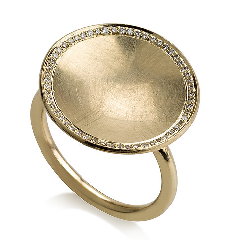Large Circle Signet Ring With Diamonds