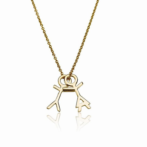This delicate 14K Yellow/White gold Boy and Girl Children Pendants necklace perfect Mothers gift for your Mother, mom gift