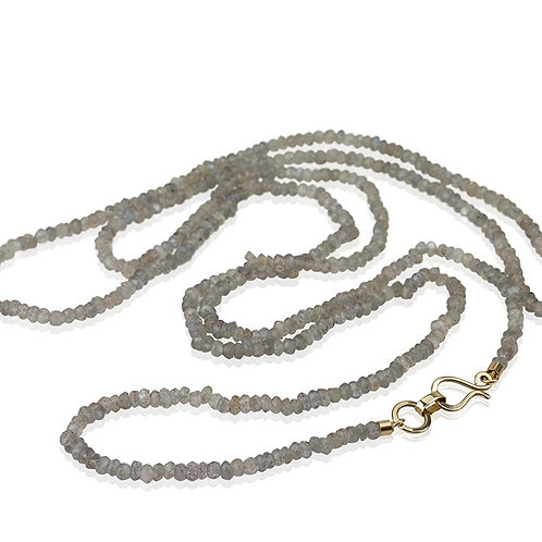 Long Beaded Gray Labradorite and gold Necklace