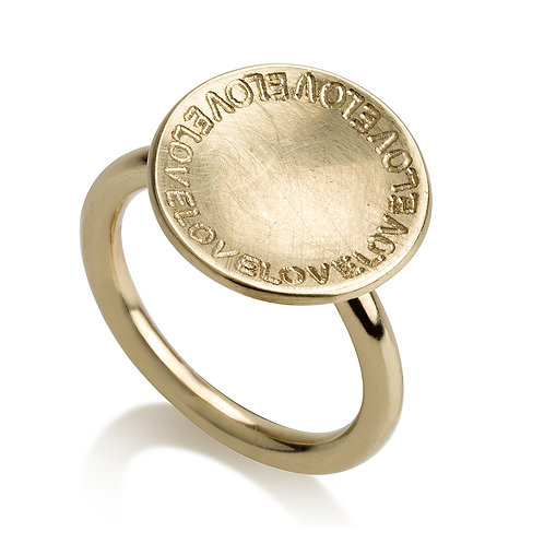"""LOVE"" Flat Circle Ring with Personal Engraving"