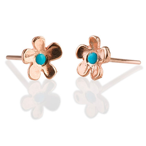 Flat Flower Stud Earrings with Turquoise