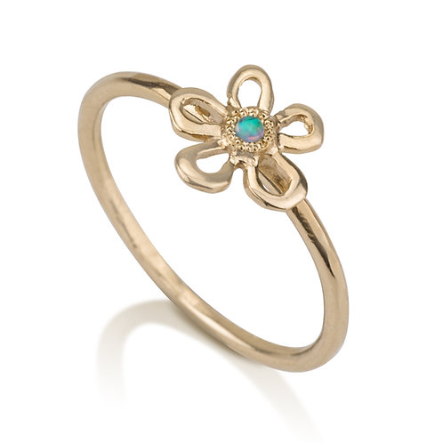 Handmade Flower Girls Ring with Opal designed to wear on its own, but will also look lovely stacked on top of other rings.