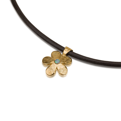 Flower Pendant with Opal on Leather Chain