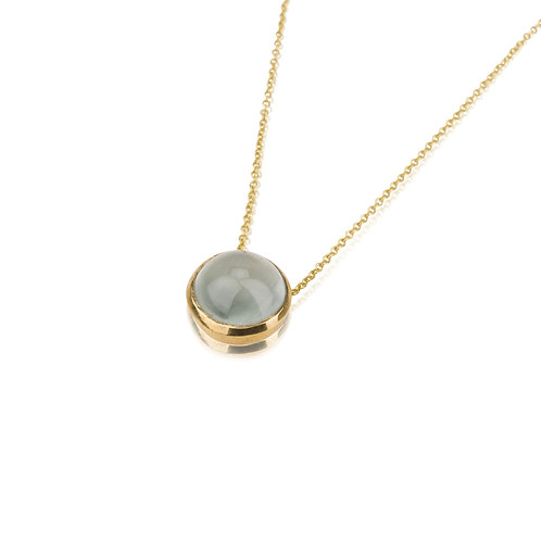 Round Aquamarine pendant Necklace