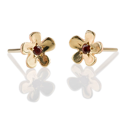 Flat Flower Stud Earrings with Garnet