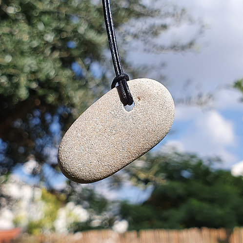 No. 5 One of a Kind Natural Beach Rock on a leather chain