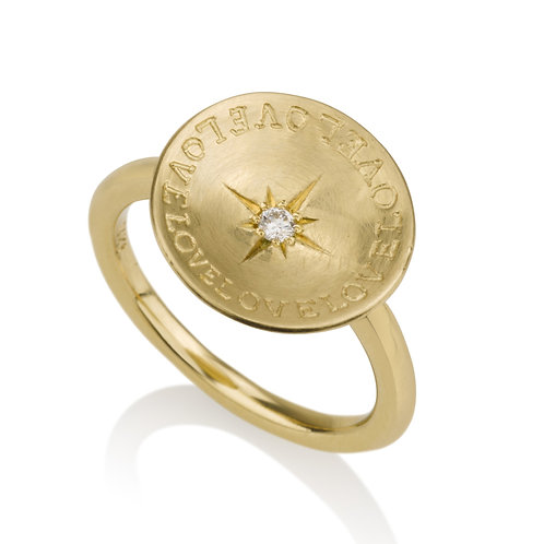 """""""LOVE"""" Flat Circle Engraved Ring with a Diamond"""