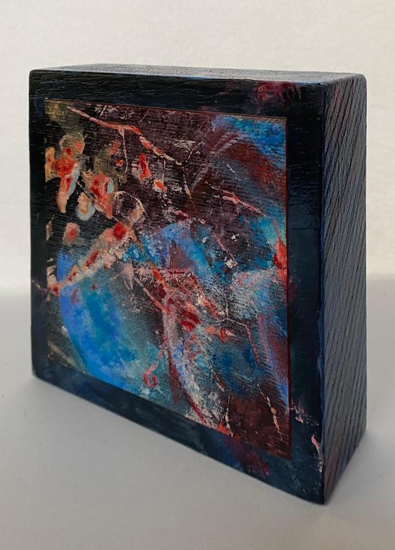 blok blauw vaasje 1 | olie op hout | 12x12x4