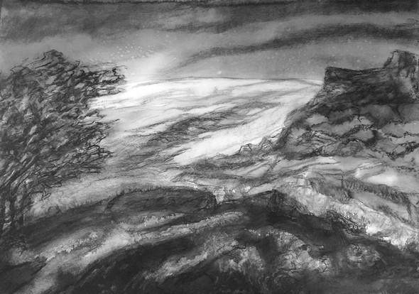 Landschap | gem. techn. op papier | 70x50