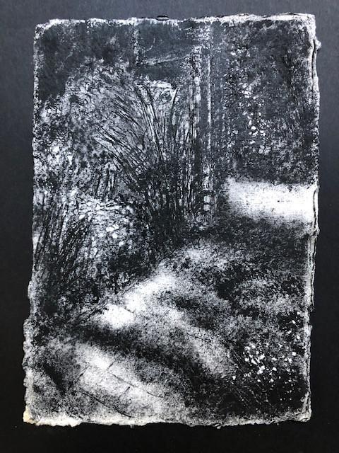 Tuinpad | acryl  op geschept papier | 16x22