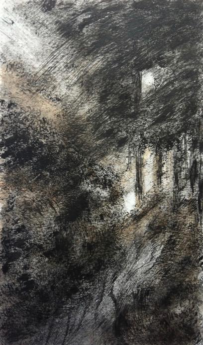 Bospad 2 | acryl en inkt op papier | 15x25