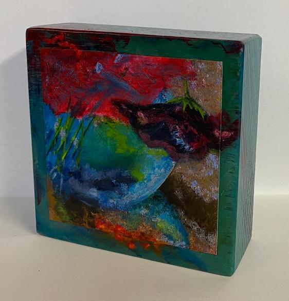 blok blauw vaasje 3 | olie op hout | 12x12x4