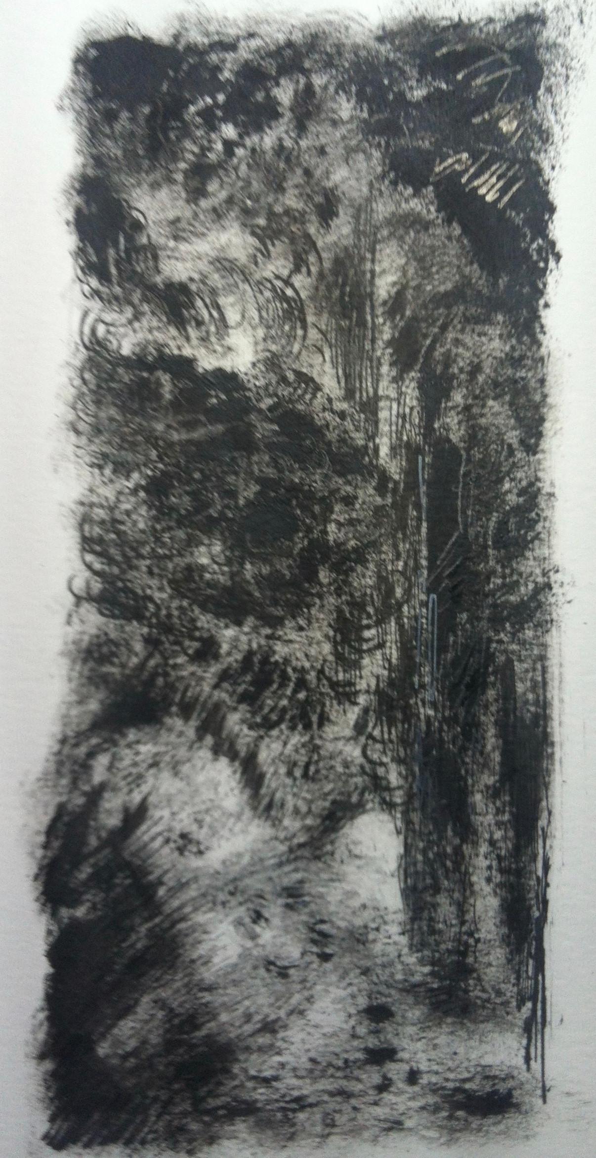 Bospad 3 | acryl, potlood op papier | 8x18