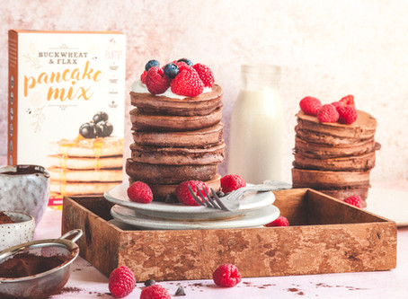 Chocolate and Raspberry Pancakes Recipe (gluten-free)