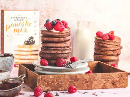 Chocolate and Raspberry Pancakes Recipe (gluten-free)