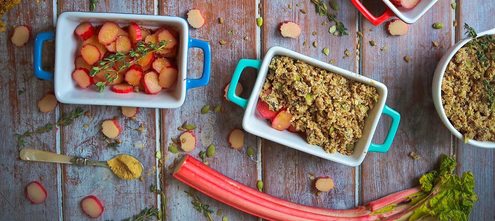 Vegan Recipe Rhubard and Ginger Crumble