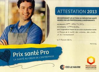 """Récompense """"Prix santé Pro"""""""