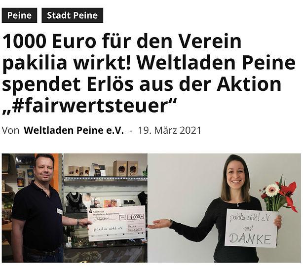 Weltladen Peine 1000 Euro für den Verein pakilia wirkt!