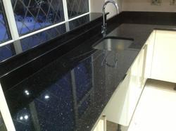 Jet black granite countertop