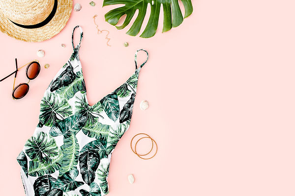 Woman's beach accessories: swimsuit with