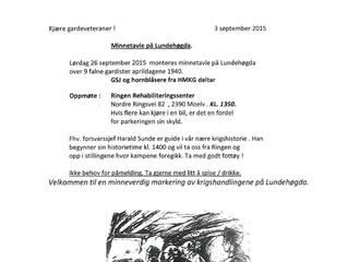 Minnetavle på Lundehøgda