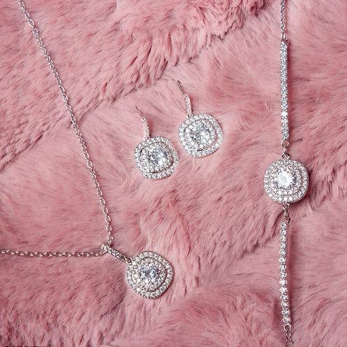 Set de joyeria cojin piedra plata