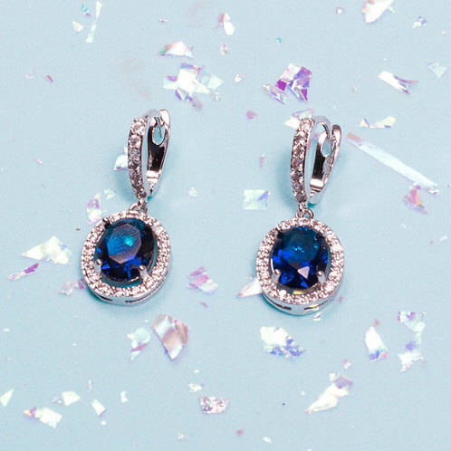 Aretes ovalo piedra azul
