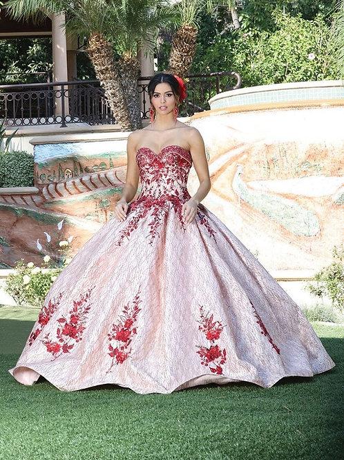 Vestido XV glitter con aplicaciones 3D rojas