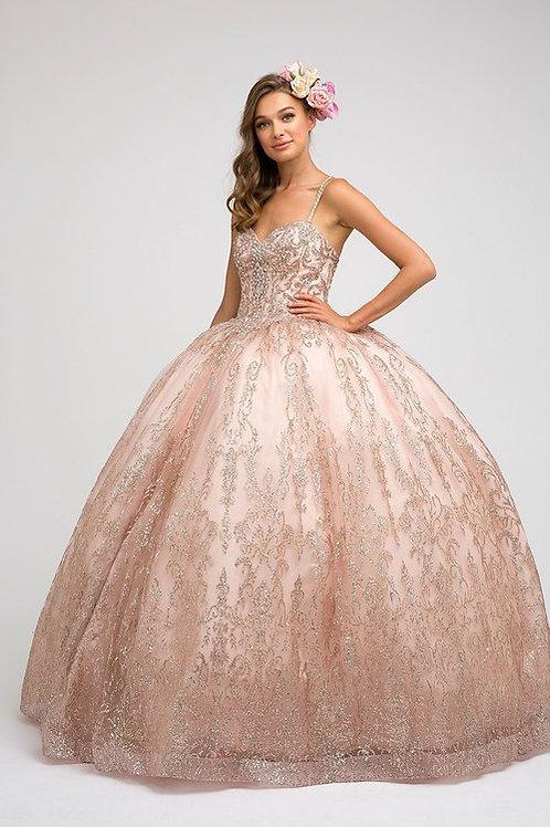 Vestido XV glitter rose gold