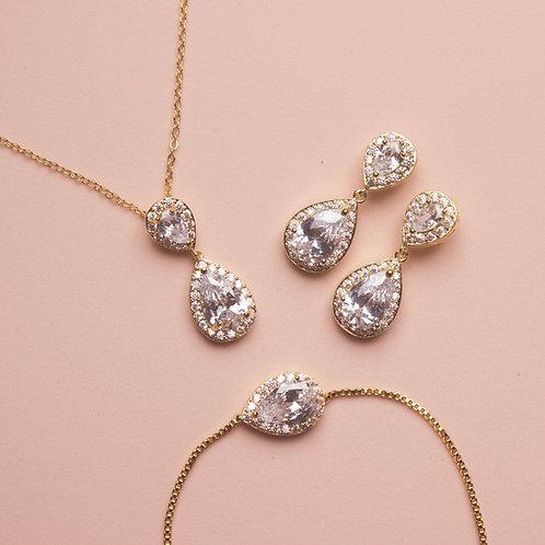 Set de joyeria gota doble Dorado