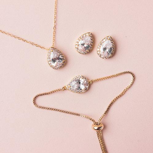 Set de joyería gota dorado