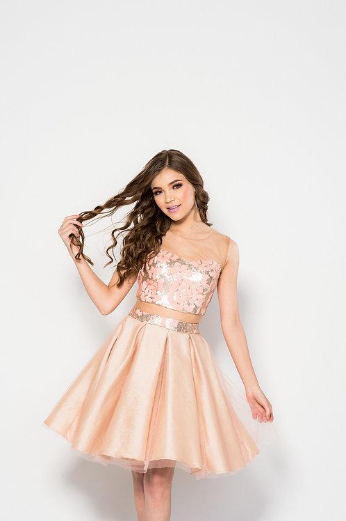 Vestido tafeta y tul con lentejuela flores