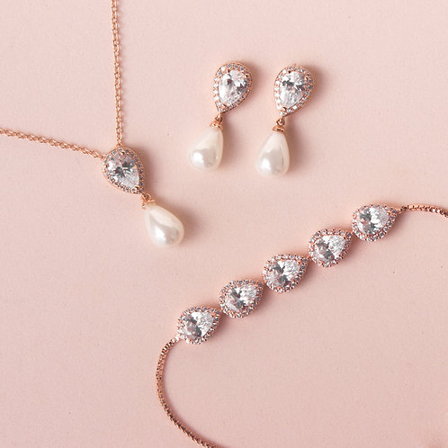 Set de joyeria perla gota rose gold