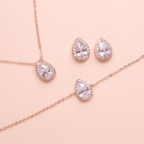 Set de joyería gota + pulsera rose gold