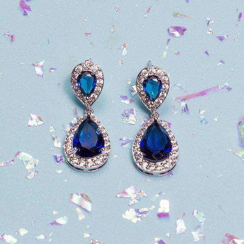 Aretes gota piedra azul
