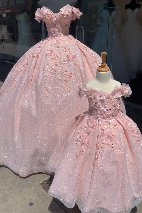 Vestido XV glitter flor 3D blush