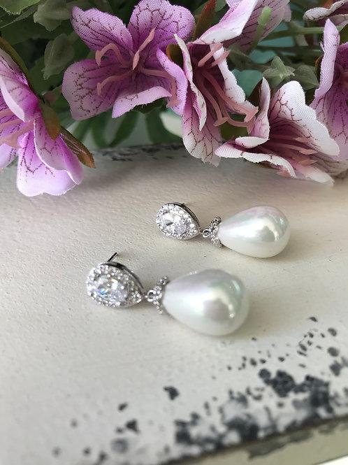 Aretes perla gota rose gold y plata
